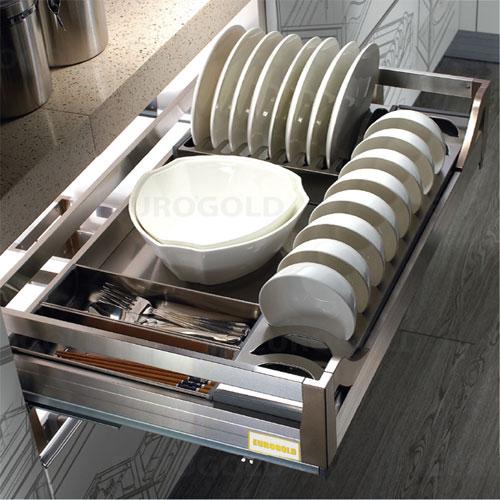 Giá bát đĩa inox hộp âm tủ ray giảm chấn EuroGold